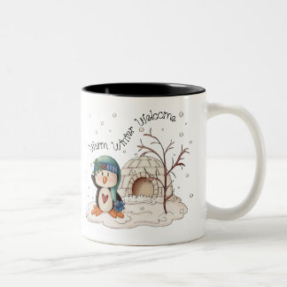 Welcome penguin household Christmas mug