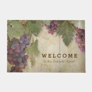 Welcome Personalized Elegant Rustic Vineyard Wine Doormat