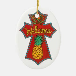 Welcome Pineapple Cross Christmas Ornament