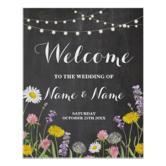 Welcome Poster Wild Flowers Wedding Floral Poster