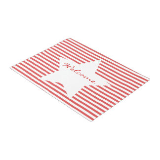 Welcome | Red Stripes & White Star Door Mat