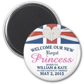 Welcome Royal Princess - William & Kate Baby 6 Cm Round Magnet