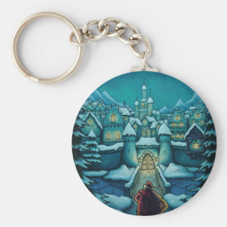 welcome santa holiday basic round button key ring