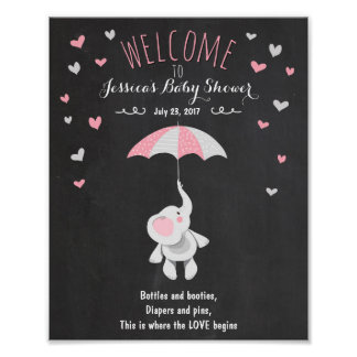 Welcome Sign baby shower elephant Pink girl Shower