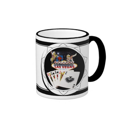 Welcome Sign Black Poker Chip Ringer Mug