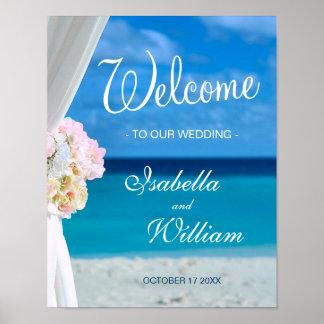 Welcome Sign | Blue Ocean Beach Summer Wedding