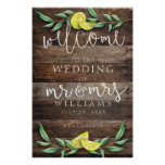 WELCOME SIGN | Rustic Wood Lemon Wedding Poster