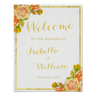 Welcome Sign   White gold rose wedding
