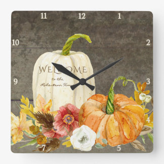 Welcome Sign Wooden Farmhouse Autumn Fall Harvest Square Wall Clock