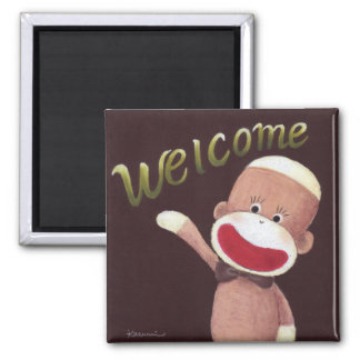 Welcome Sock Monkey Magnet