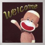 Welcome Sock Monkey Poster