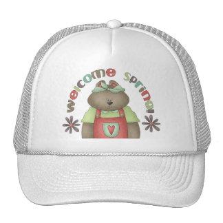 Welcome Spring · Bear & Wordart Hat
