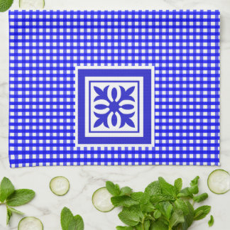 Welcome Spring Bright Blue Gingham Pattern Ornate Hand Towels