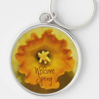 Welcome Spring - Inside daffodil Silver-Colored Round Key Ring