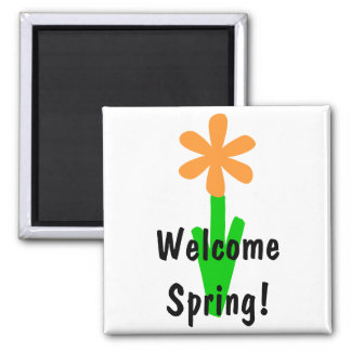 Welcome Spring! Square Magnet