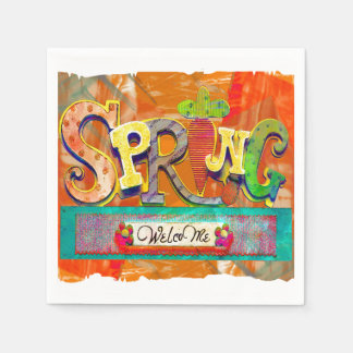 Welcome Spring Paper Serviettes