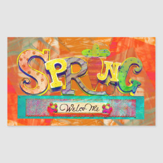 Welcome Spring Rectangular Sticker