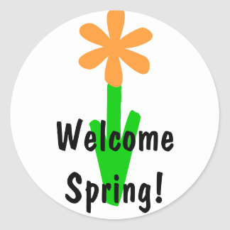 Welcome Spring Round Sticker