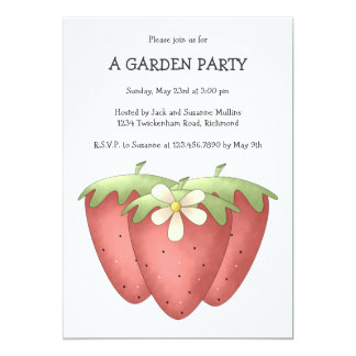"""Welcome Spring · Strawberries & Flower 5"""" X 7"""" Invitation Card"""