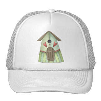 Welcome Spring · Teal Birdhouse Mesh Hats