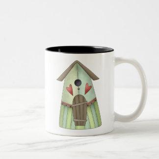 Welcome Spring · Teal Birdhouse Mug
