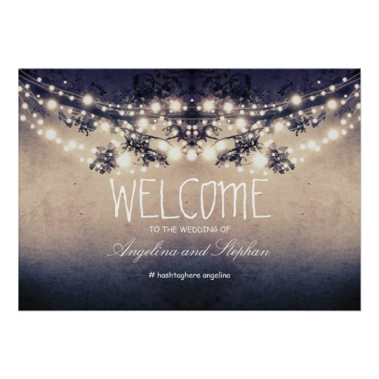 Welcome string lights poster with tree branches