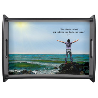 """Welcome the Day"" - Large, Black Serving Tray"