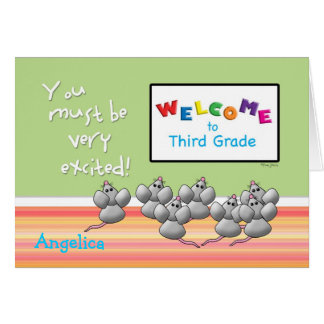 Welcome to 3rd Grade from Teacher Cute Mice Greeting Card