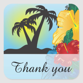 Welcome to a Beautiful Tropical Paradise Square Sticker