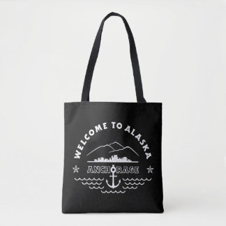 Welcome to Alaska. Anchorage - Black and Whit Logo Tote Bag