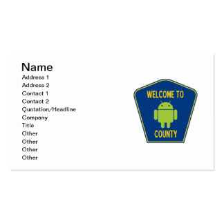 Welcome To Android County (Bug Droid Sign) Pack Of Standard Business Cards