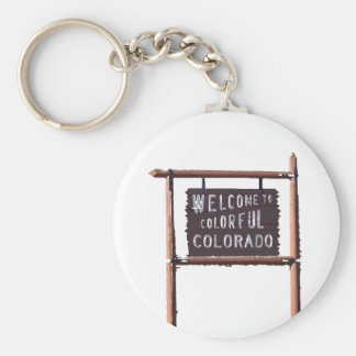 welcome to colorful colorado basic round button key ring