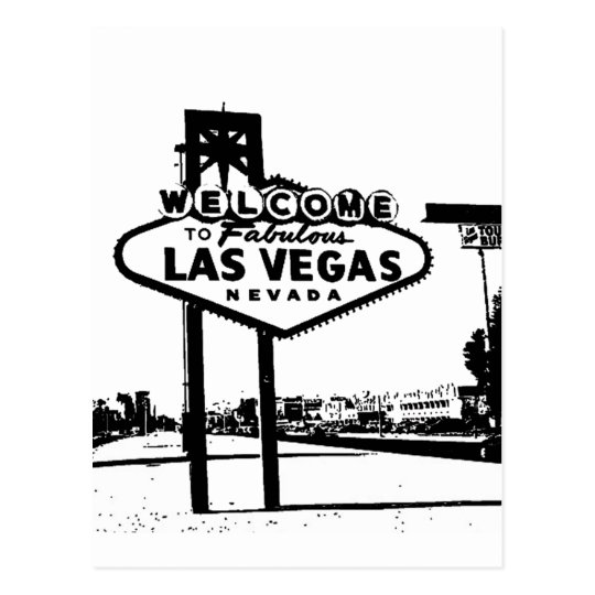 Welcome to Fabulous Las Vegas B&W Vector Graphic Postcard