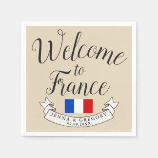 Welcome to France   Destination Wedding Custom Disposable Serviette