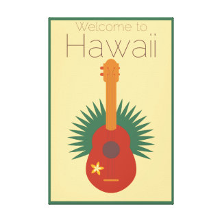 Welcome To Hawaii Ukulele Retro Canvas Print