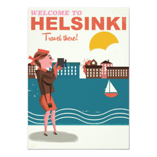 Welcome to Helsinki Finland retro travel poster Card