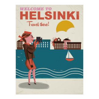 Welcome to Helsinki Finland vintage travel poster