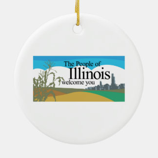 Welcome to Illinois - USA Road Sign Round Ceramic Decoration