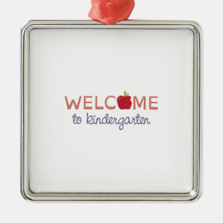 Welcome To Kindergarten Silver-Colored Square Decoration