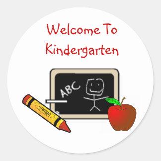 """""""Welcome To Kindergarten Stickers"""" Classic Round Sticker"""