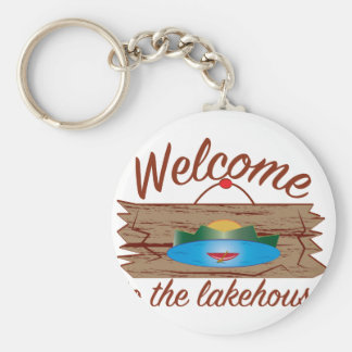 Welcome To Lake House Basic Round Button Key Ring