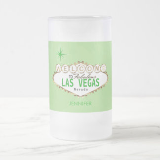Welcome to Las Vegas - Green Frosted Glass Beer Mug