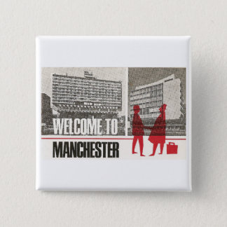 Welcome to Manchester 15 Cm Square Badge