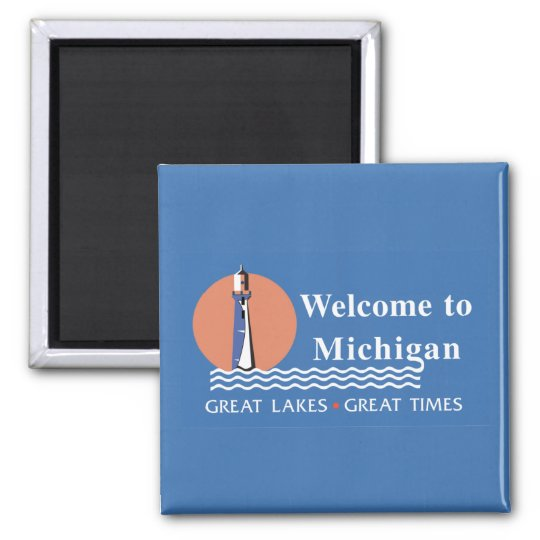 Welcome to Michigan - USA Road Sign Square Magnet