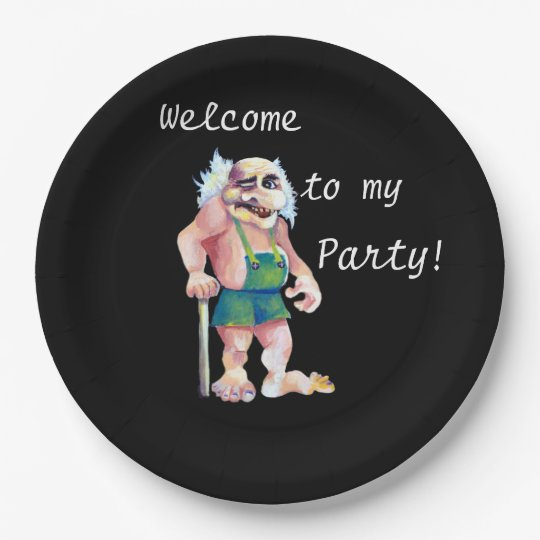 Welcome To My Party - Scandinavian Ogre 9 Inch Paper Plate