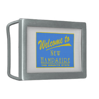 Welcome to New Hampshire - USA Road Sign Rectangular Belt Buckles