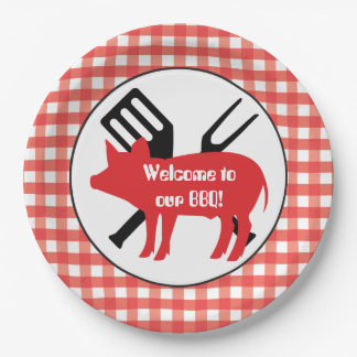 Welcome to our BBQ pig party paper plate