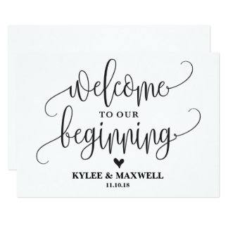 Welcome to Our Beginning Editable Wedding Sign Card