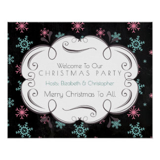 Welcome To Our Christmas Party Snowflakes Winter Poster