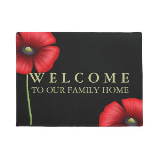 Welcome to Our Family Home Red Poppies on Black Doormat
